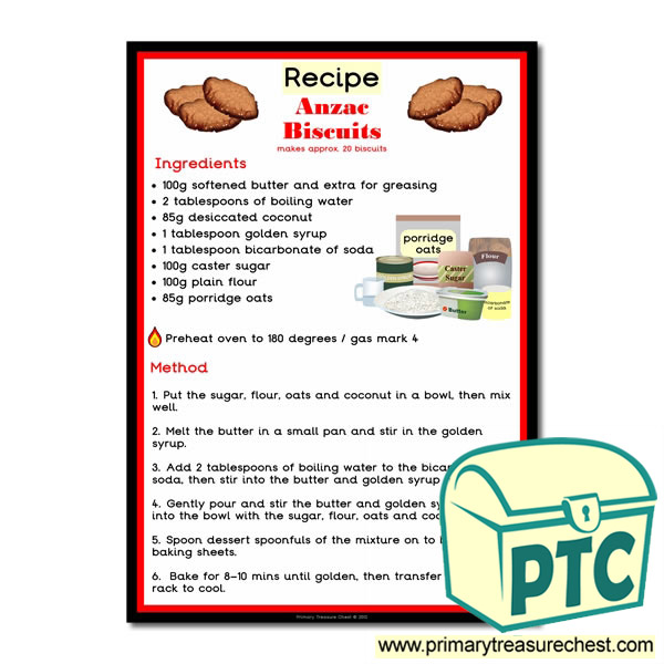 Anzac Biscuits Poster Recipe