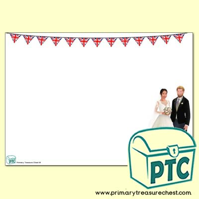 Harry and Meghan Wedding Landscape Page Border - no lines
