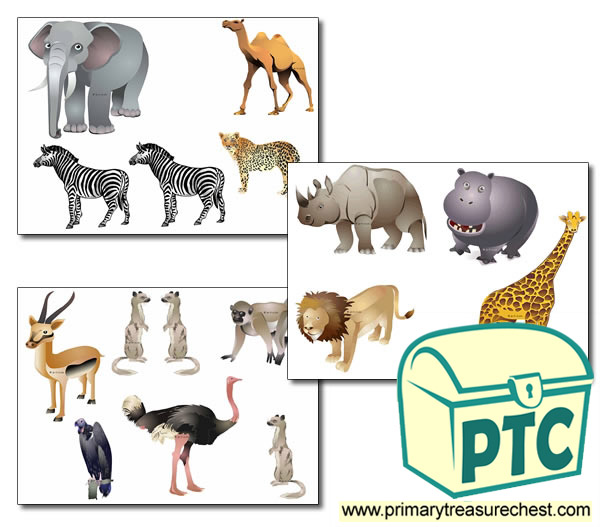 African Animal Storyboard / Cut & Stick Images