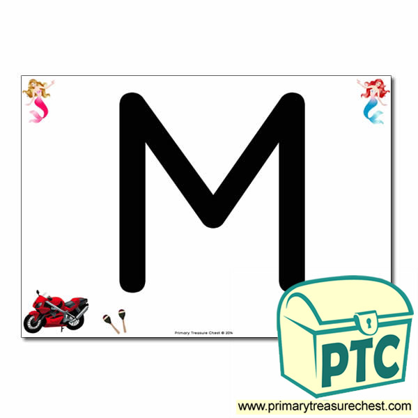 'M' Uppercase Letter A4 poster with high quality realistic images