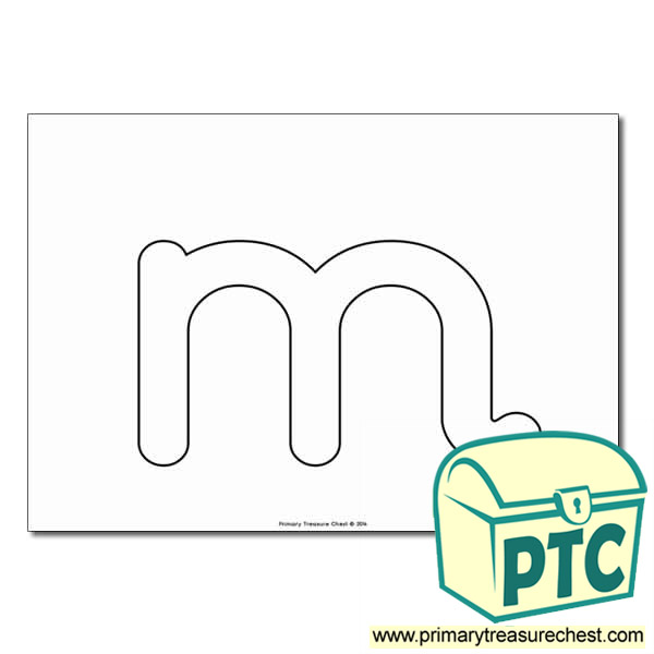 'm' Lowercase Bubble Letter A4 Poster - No Images