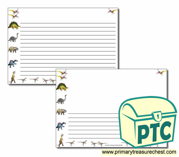 Dinosaur Themed Landscape Page Borders/Writing Frames (narrow lines)