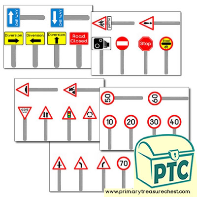 Road Sign themed images for use on a storyboard / cut & stick activity.