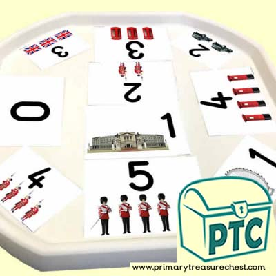 London Themed Number Tuff Tray Cards