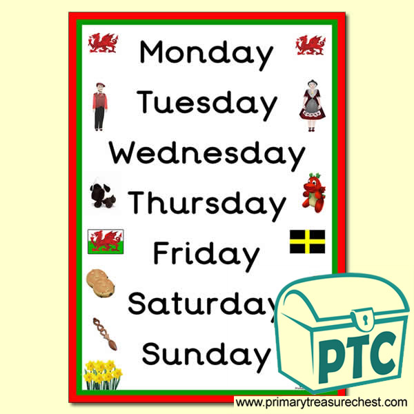 Welsh Themed Days of the Week Poster