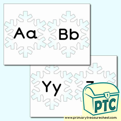 Snowflake Themed Lowercase Alphabet Cards