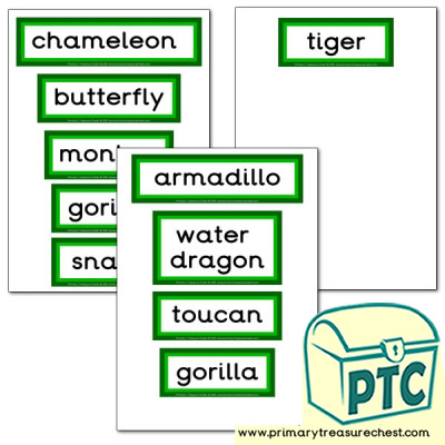 Jungle Animal Themed Display Words