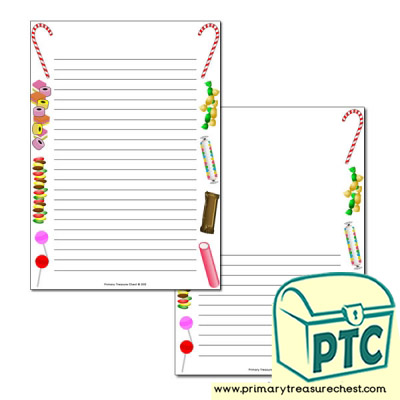 Sweets/Candy Themed Page Border/Writing Frame (narrow lines)