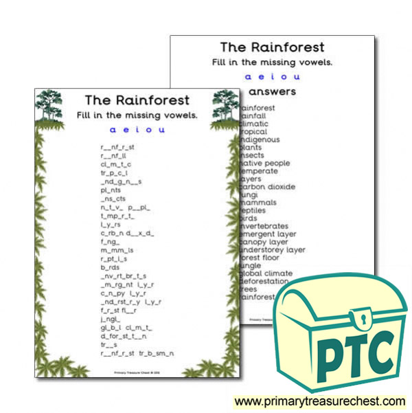 'the Rainforest' Themed Missing Vowels Worksheet ': Layers Of The Rainforest Worksheet At Alzheimers-prions.com