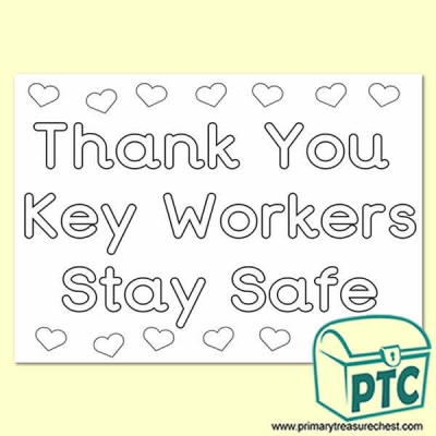 Thank You Key Workers Colouring in Poster