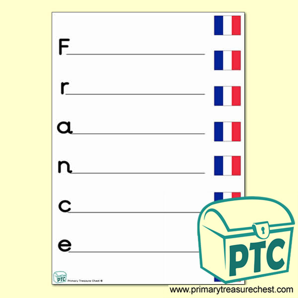 France Acrostic Poem Worksheet