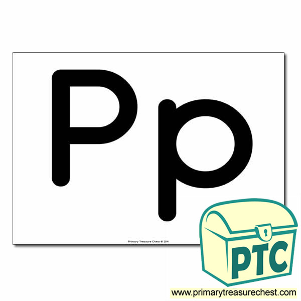 'Pp' Upper and Lowercase Letters A4 poster (No Images)