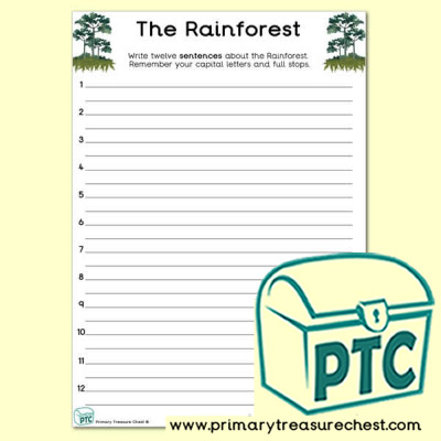 'The Rainforest' Themed Sentence Writng Activity
