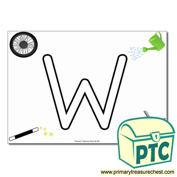 'W' Uppercase Bubble Letter A4 poster with high quality realistic images