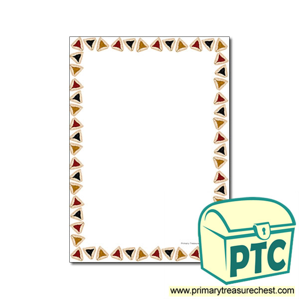 Purim Hamentashen Themed Page Border No Lines