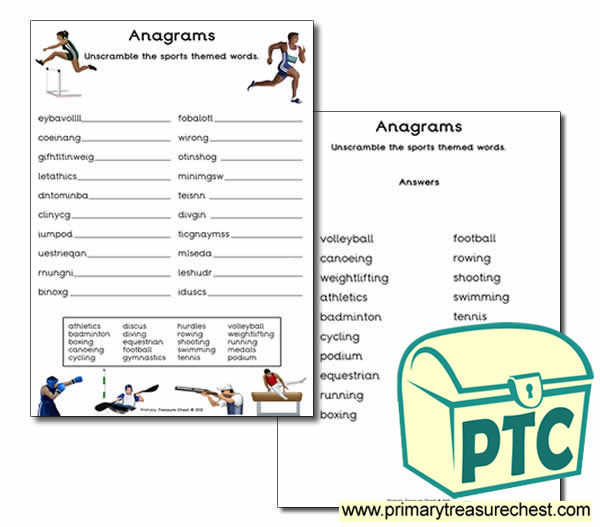 sports themed anagram worksheet primary treasure chest. Black Bedroom Furniture Sets. Home Design Ideas