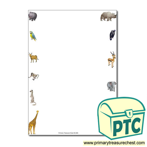 African Animals Themed Page Border Writing Frame No Lines