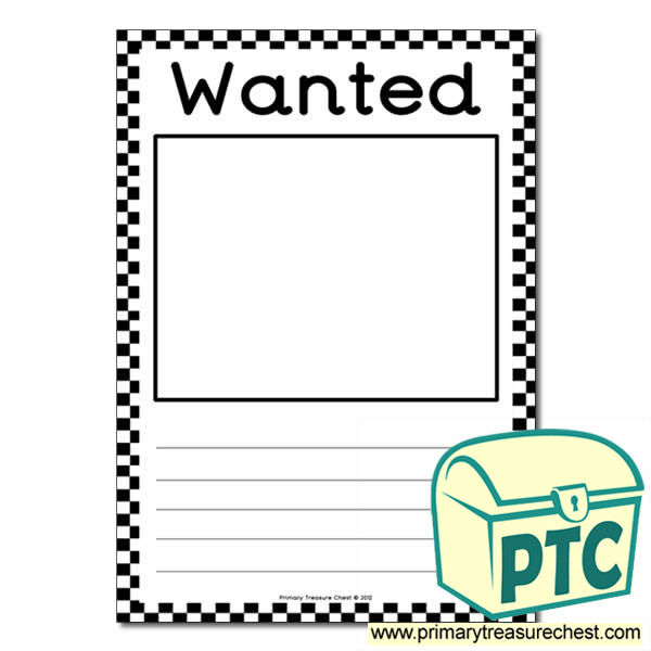 Role play us police blank wanted poster primary treasure for Wanted pirate poster template
