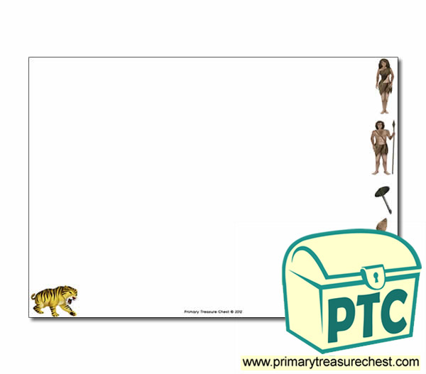 Classroom Border Ideas ~ Caveman themed landscape page border writing frames no