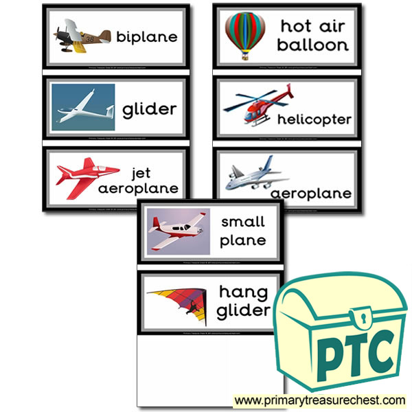 Classroom Names Ideas ~ Air transport themed flashcards primary treasure chest