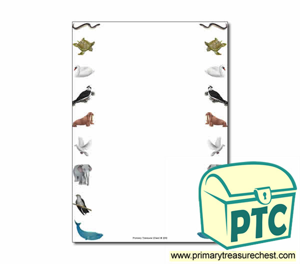 Animal Migration Themed Page Borderwriting Frame No Lines