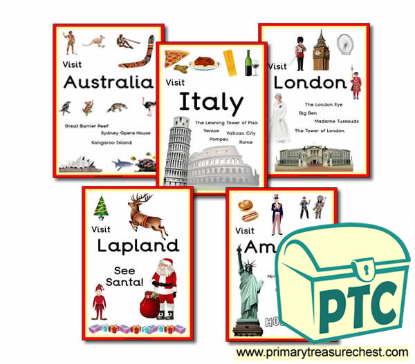 Role play travel agents holiday signs primary treasure chest for Free travel posters for teachers