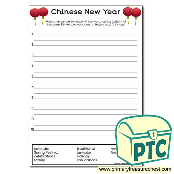 chinese new year write a sentence worksheet primary treasure chest. Black Bedroom Furniture Sets. Home Design Ideas