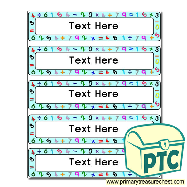 Maths Themed Drawer Labels (Small) - Primary Treasure Chest