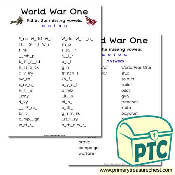 World War One Missing Vowels Worksheet Primary Treasure