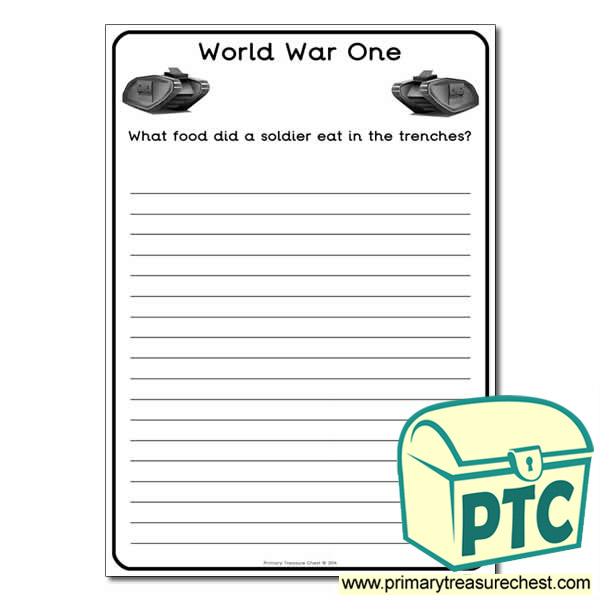 World War One Worksheet Primary Treasure Chest