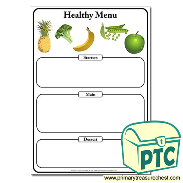 Healthy Food Menu worksheet. Add your own text in the editable version ...