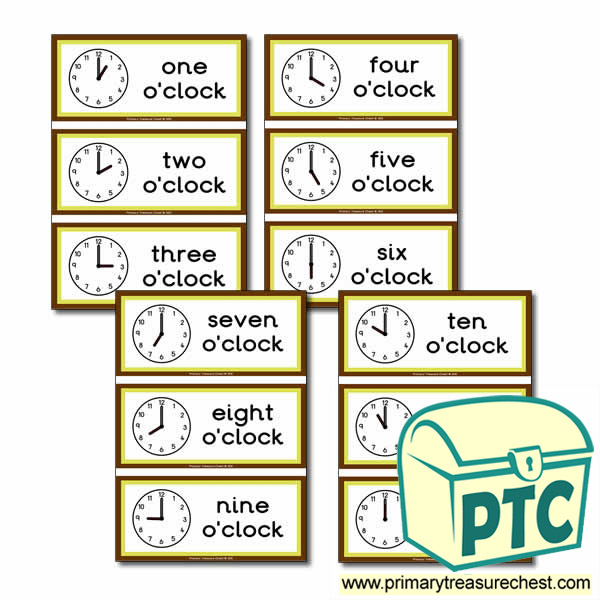 Clock Themed Flashcards Tell The Time Primary Treasure