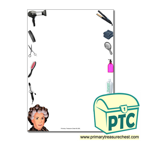 Hairdressers Themed Page Border Writing Frame No Lines on Months Of The Year Clipart