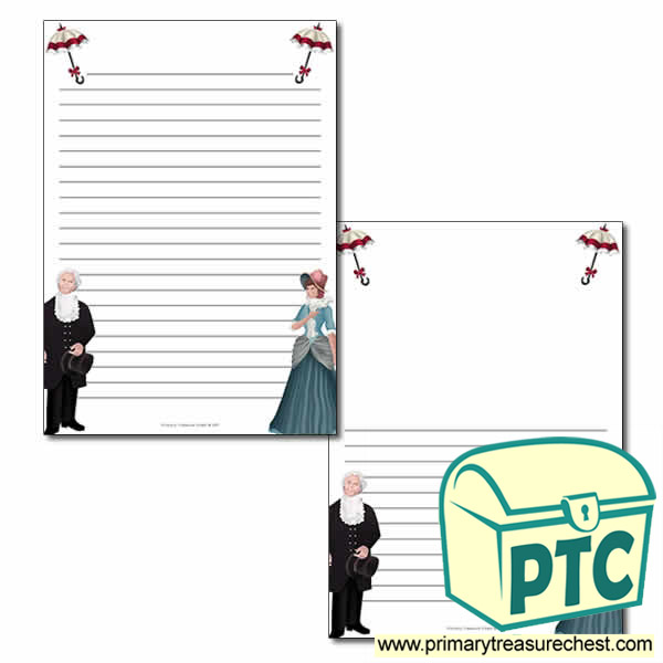 Classroom Review Ideas ~ Victorian themed page border writing frames narrow lines