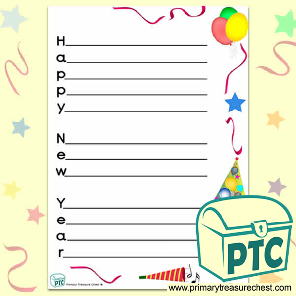 Happy New Year\' Acrostic Poem Sheet - Primary Treasure Chest