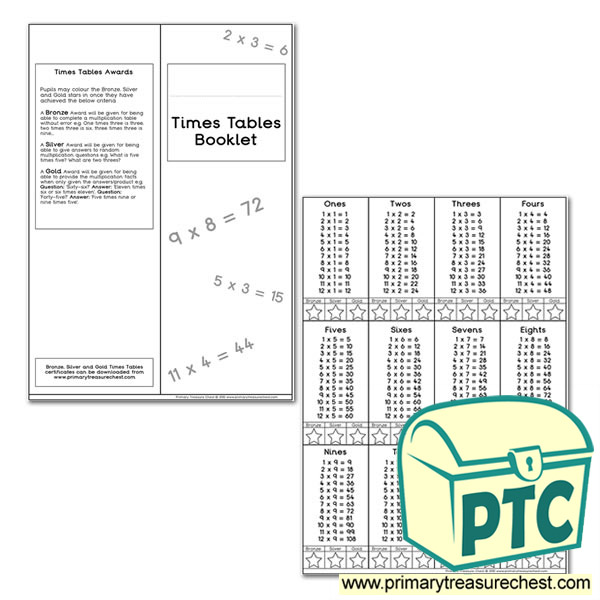 Times Tables Booklet Tables 1 12 Format For All Tables Primary