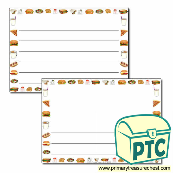 fast food takeaway themed landscape page border writing frame wide
