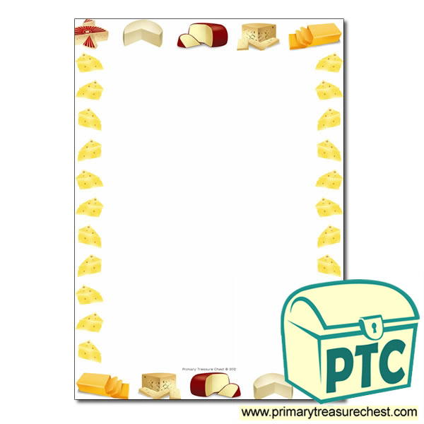 Cheese Themed Page Borders Writing Frames No Lines