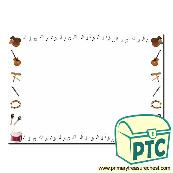 Music Themed Landscape Page Border Writing Frame No Lines