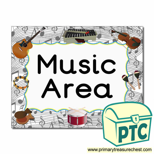 music area sign classroom signs items k2 fonts primarytreasurechest chest