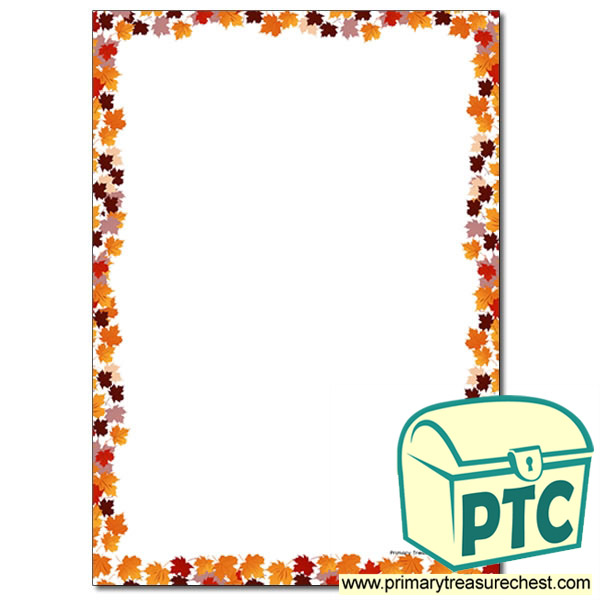 Autumn Leaves Page Border Writing Frame No Lines