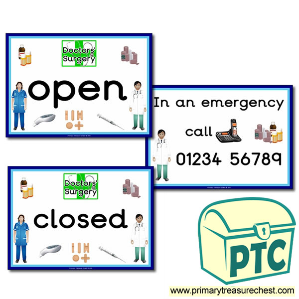 Doctors Surgery Themed Open And Closed Signs Primary