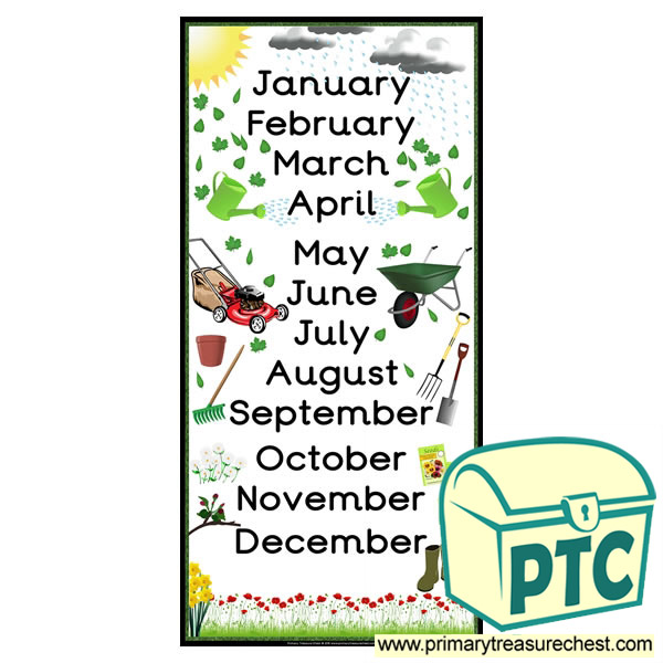 gardening themed months of the year poster primary treasure chest