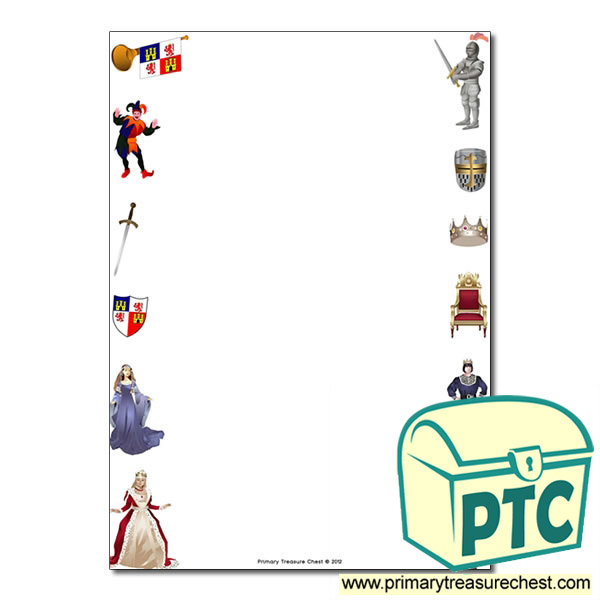 Medieval Castle Themed Page Border Writing Frame No Lines