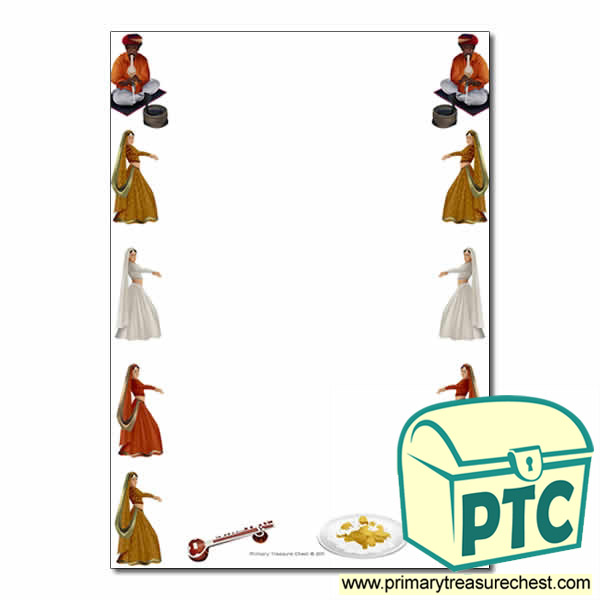 india themed page border writing frames no lines primary