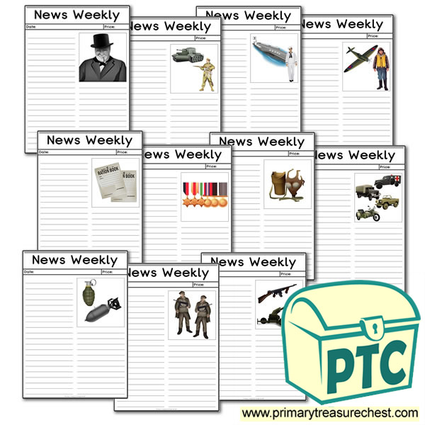 World War Two Themed Newspaper Worksheets Primary
