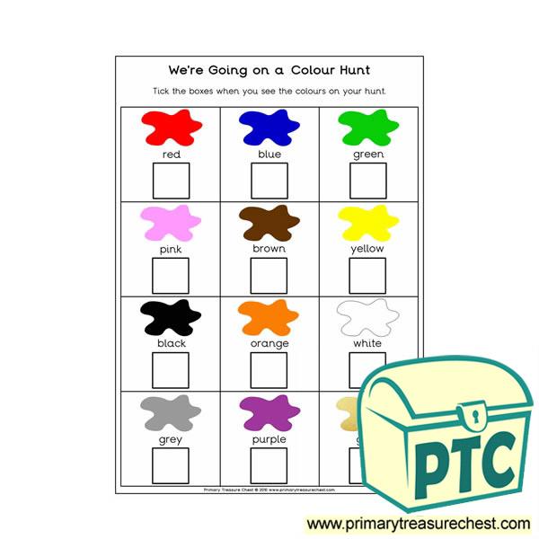 Colour Hunt Worksheet - Primary Treasure Chest