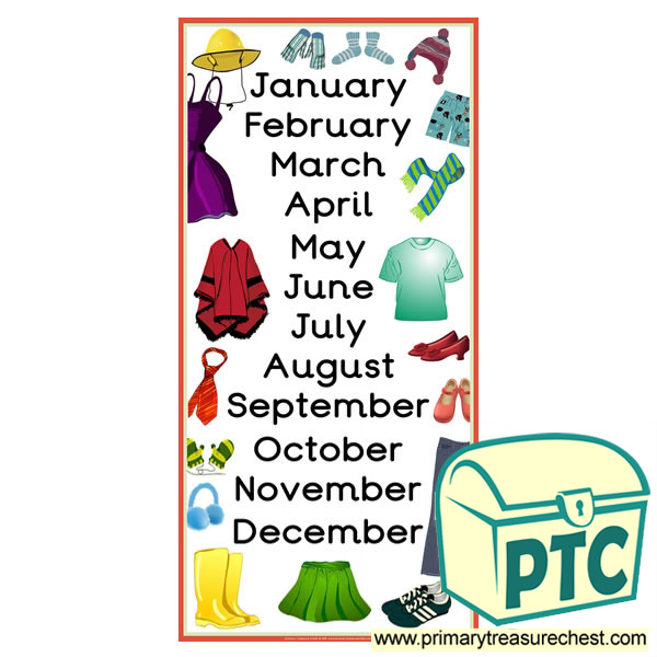clothes themed months of the year poster primary treasure chest