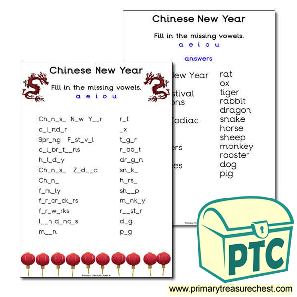 Missing Vowels Chinese New Year Worksheet Primary Treasure Chest