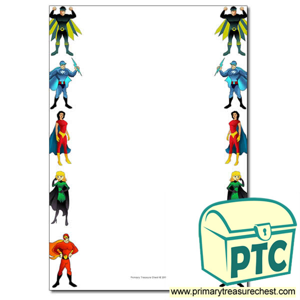 Superhero Themed Page Border Writing Frame No Lines